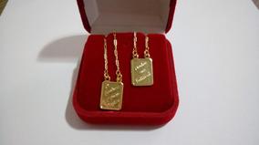 Escapulário Salmo 23 Banhado A Ouro 18k Com Caixa 70cm