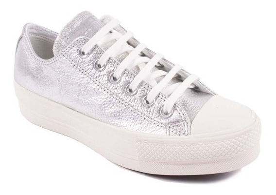 Zapatillas Converse All Star Plataforma Plateado Metalizado