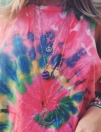 Colar Triplo Peace Ametista Lua / Amuleto / Hippie