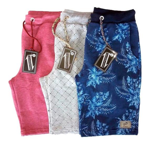 Kit Com 3 Bermudas Shorts Moletom Masculinas Super Baratas