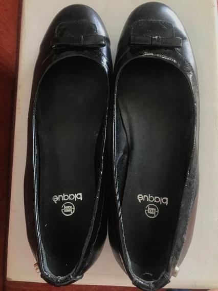 Zapatos Chatitas Balerina De Cuero Charol N 36 Blaque 1 Uso
