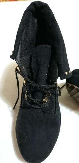 Zapatos Altos Acordonados De Gamuza