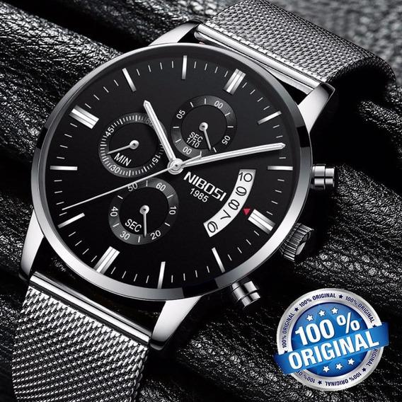 Relógio Nibosi 2309 Prata E Preto Casual De Luxoso Original