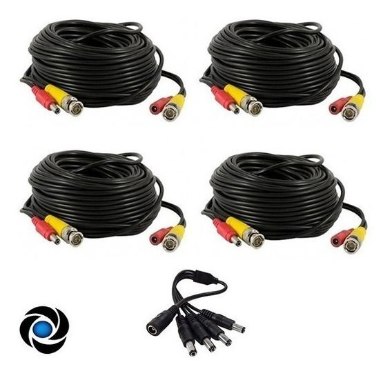 Pack 4 Cables 18m Bnc Video Alimen + Splitter 1x4 Pulpito Cctv