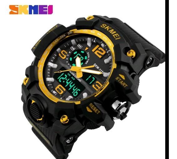Relógios Esportivo Militar Skmei Original -preto Com Dourado