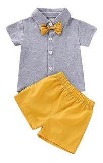 Ropa Conjunto Para Bebé Niño Suéter Con Corbatín Y Bermuda