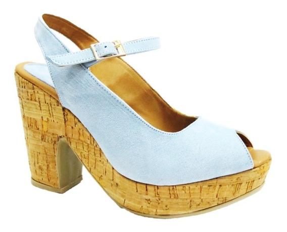 Sandalias Plataforma Azul Cielo Mujer Silvia Cordero