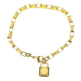 Pulseira Feminina Bracelete Dourada Folheada Ouro Esposa 137