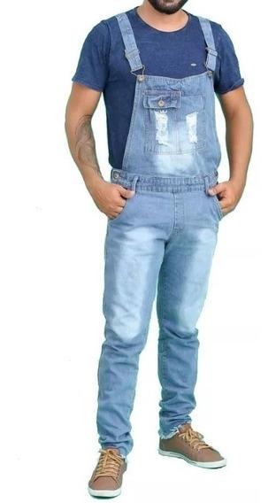 Macacão Jeans Masculino Jardineira Destroyed Original