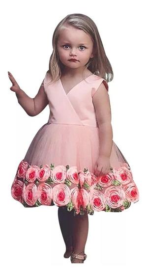 Vestido Flores 3d Y Tul Talla 4-5 Y 6-7 Años