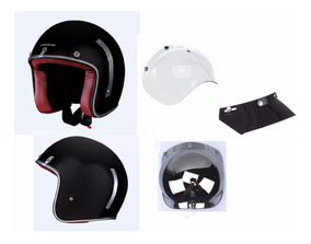 Capacete Lucca Custom Old School New Glossy Black - Full