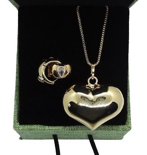 Imagem 1 de 5 de Conjunto Coração Dourado Banhado A Ouro 18 K Pinkcat