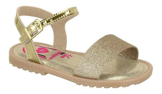 Sandália Infantil Menina Molekinha Glitter Dourada 2700200