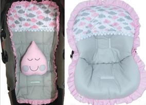 Kit Capa De Carrinho + Capa Bebê Conforto Nuvens Cinza Rosa