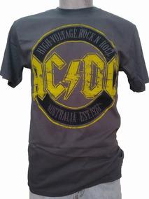 Playera Acdc Logo Grande Deslavado High Voltage Rocknroll