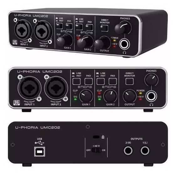 Interface De Áudio Usb Behringer U-phoria Umc202hd Umc202
