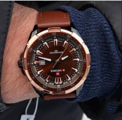 Relógio Naviforce 9056 Masculino Importado Original Couro