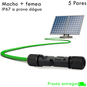 Kit 5 Pares De Conector Mc4 Placa Painel Solar Fotovoltaico