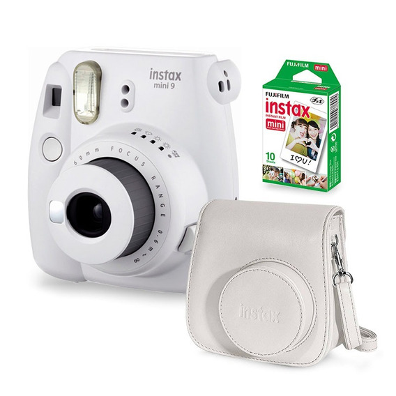 Câmera Instax Mini 9 Smoky White + Filme + Case