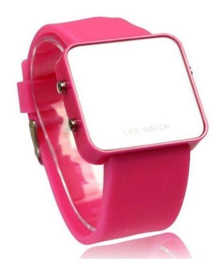 Relógio Digital Feminino Led Pulseira Borracha Espelhado