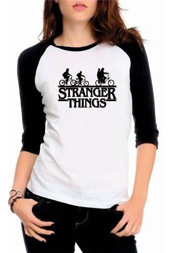 Camiseta Camisa Raglan 3/4 Stranger Things Serie Tv