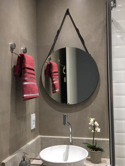 Espelho Redondo 50cm Adnet Luxo Alça Em Couro - Regulável