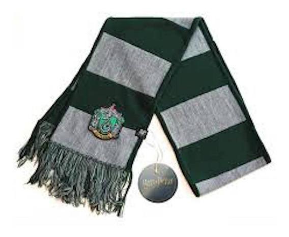 Bufanda Harry Potter Slytherin Rayada Con Escudo Oficial