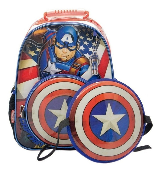 Mochila Espalda Capitán America 16 Pulgadas Con Escudo