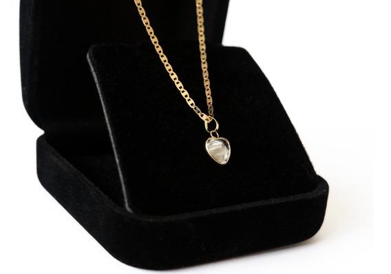 Corrente Feminina Em Ouro 18k Piastrine 45cm Ping Coração