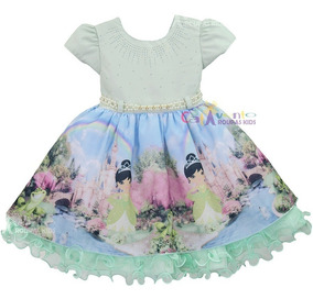 Vestido Festa Princesa Tiana Sapo Realeza Jardim Encantado