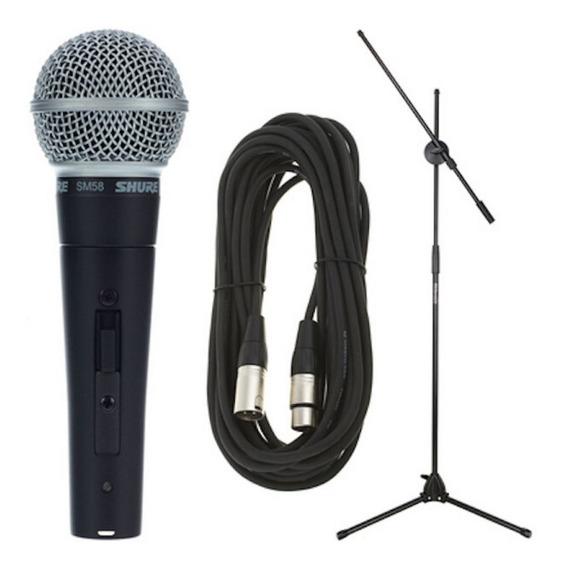 Kit com microfone Shure SM58 dinâmico cardióide e unidirecional