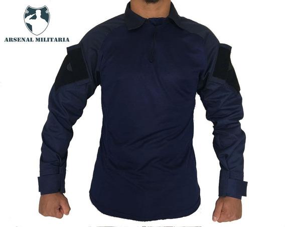 Camisa Combat Shirt Tática Camuflada Lisa Militar Reforçada