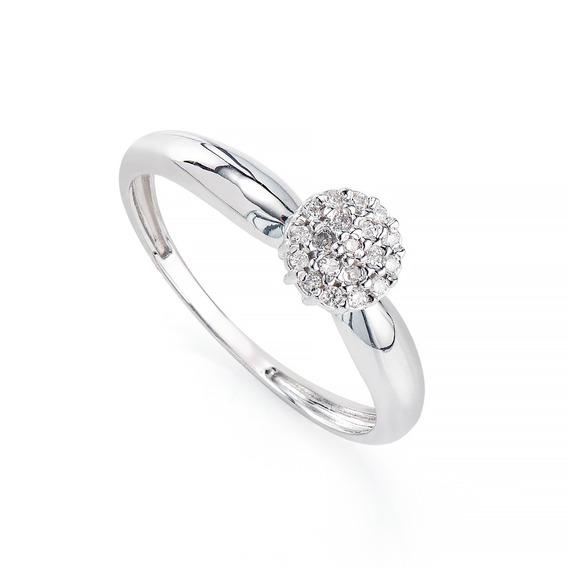 Anel De Ouro Branco 18k Chuveiro Com Diamantes An35551 Anel