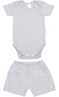 Roupa De Bebê Conjunto Body E Shorts Curto Verão Algodão