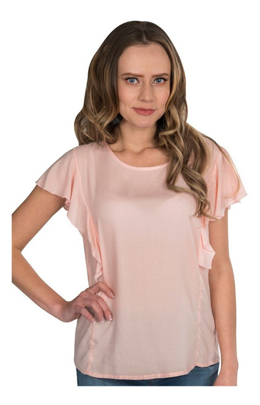 Blusas Dama Mujer Ligera Olanes Rosa Claro Lisa N91145