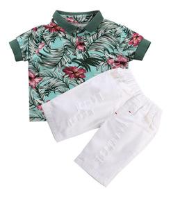 Roupa Infantil Menino Conjunto Verão - Camisa Pólo + Bermuda