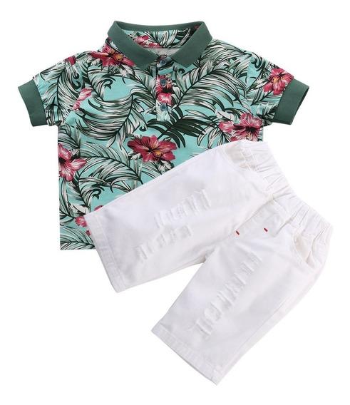 Roupa Infantil Menino Conjunto Camisa E Bermuda Floral Verão