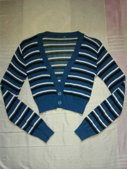 Chaqueta Tipo Crop Top Tejido Azul Forever 21 De Rayas