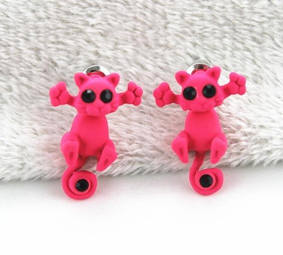 Brinco Infantil E Adulto Gato Rosa Escuro Bonito Feminino Importado Promoção