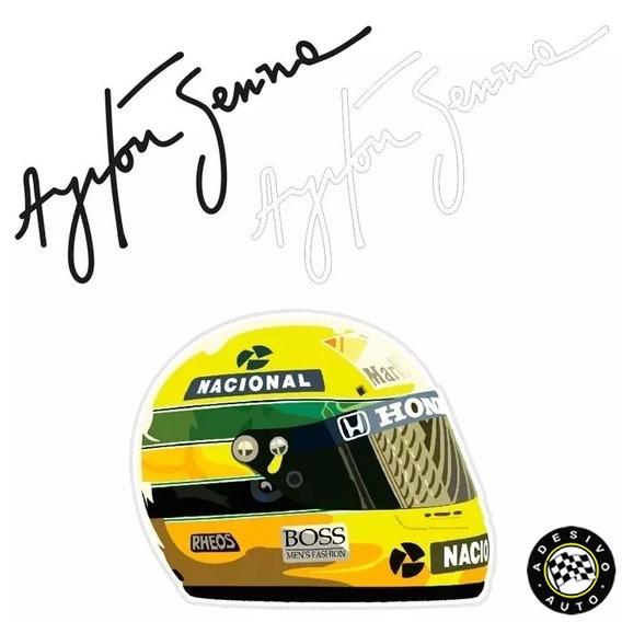 Adesivos Ayrton Senna Capacete +2 Assinaturas Pronta Entrega