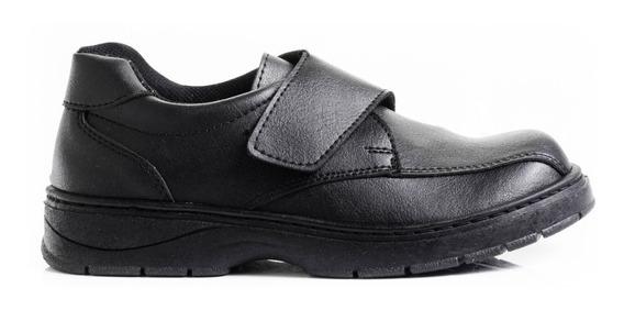 Zapatos Colegiales Zapatillas Color Negro Abrojo Reforzados