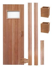 Kit Porta + Batente + Luminárias Para Sauna Seca - Cottage