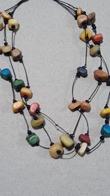 Colar Feminino Triplo Pedras Coloridas