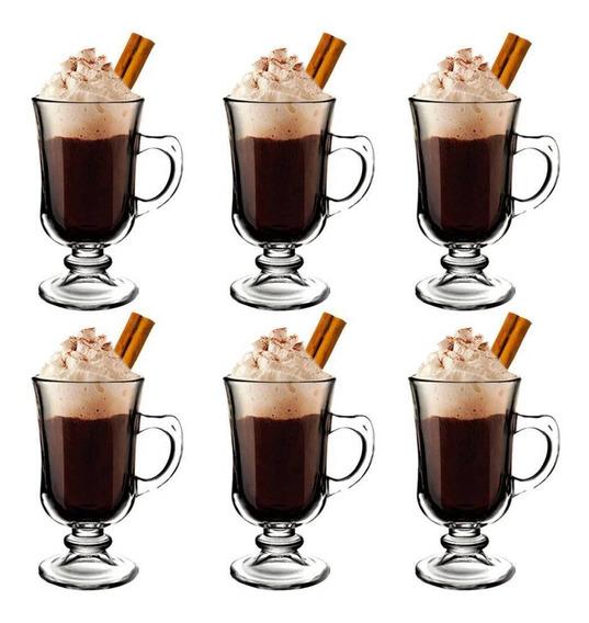 Conjunto 6 Xícaras Taca Alta Capuccino Chocolate Café 240ml