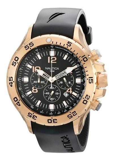 Relógio Ic3218 Nautica Ouro Fundo Preto Puls Borracha