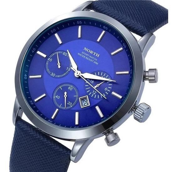 Reloj North Hombre Piel Elegante Casual Acero Inoxidable