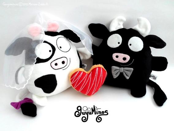 Pareja Vaca Toro Peluche Personalizado Aniversario Boda Amor