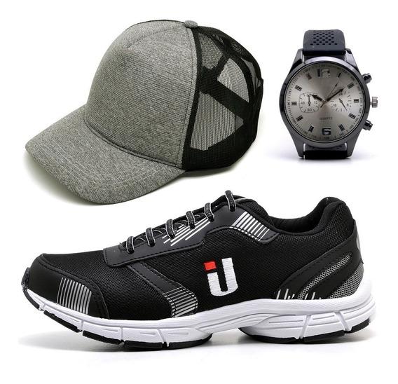 Tênis Caminhada Training Leve Masculino + Boné + Relógio