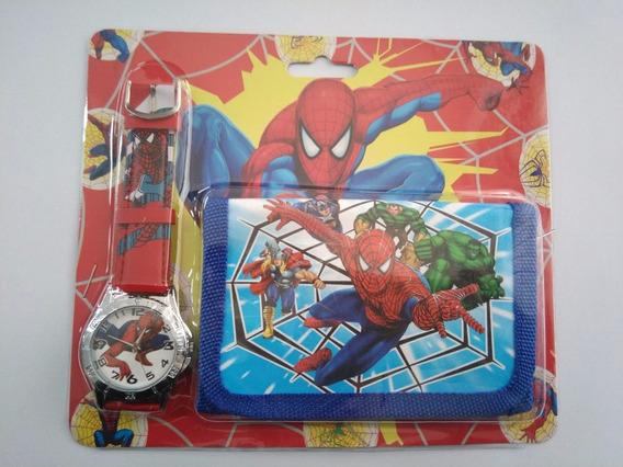 Relógio + Carteira Infantil Homem Aranha