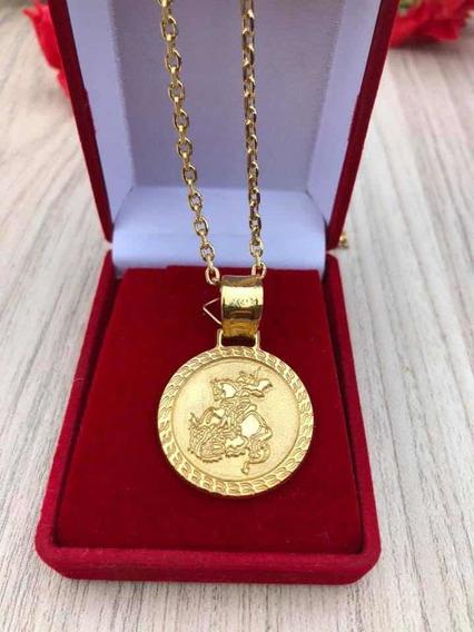 Cordão Banhado A Ouro Pingente São Jorge Modelo Cadeado 70cm